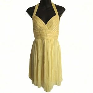 BCBG Yellow Silk Chiffon Halter Dress NWT- Sz. 4